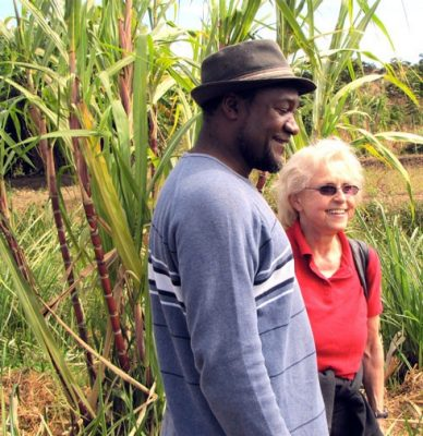 Absolom Phiri, a Malawian who received his doctorate from Virginia Tech, catches up with Patricia Kelly, a professor in the School of Education and trip leader for the study abroad trip to Malawi.