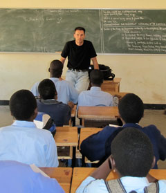 Lee Rakes, a doctoral candidate in the School of Education, teaches a class at the Domasi Demonstration Secondary School.
