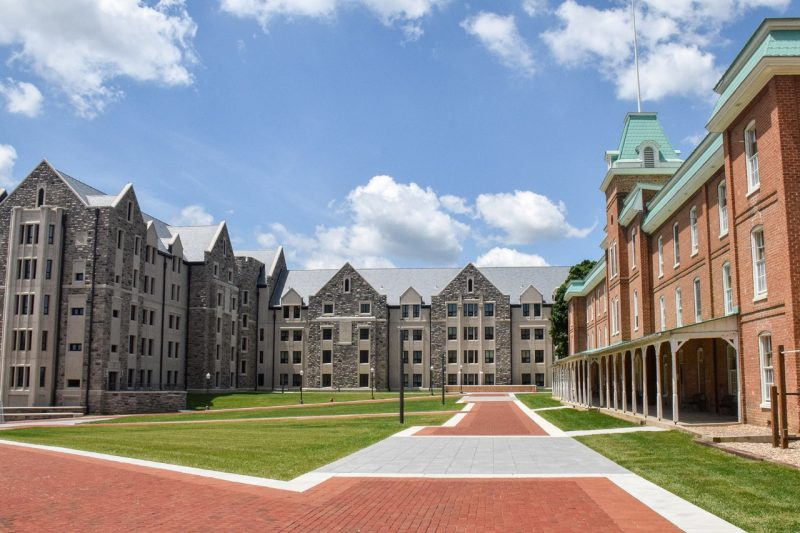 New Cadet Hall, at left, and Lane Hall, at right.