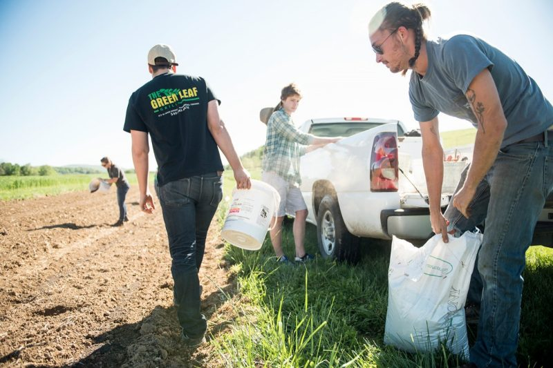 Students carrying seeds for distribution in crops on a farm.
