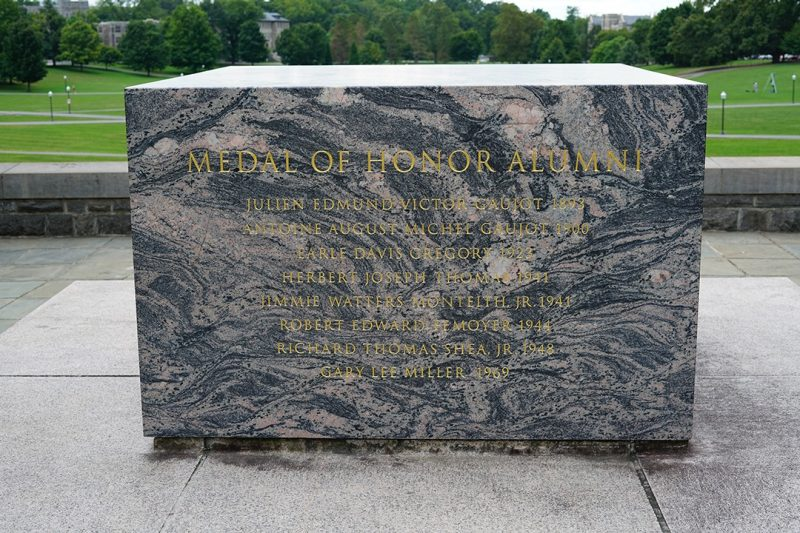 The cenotaph at War Memorial Court contains the names of the seven alumni to receive the Medal of Honor.