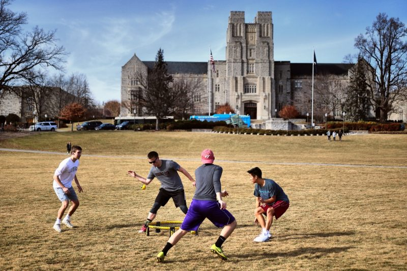 Students play on the Drillfield