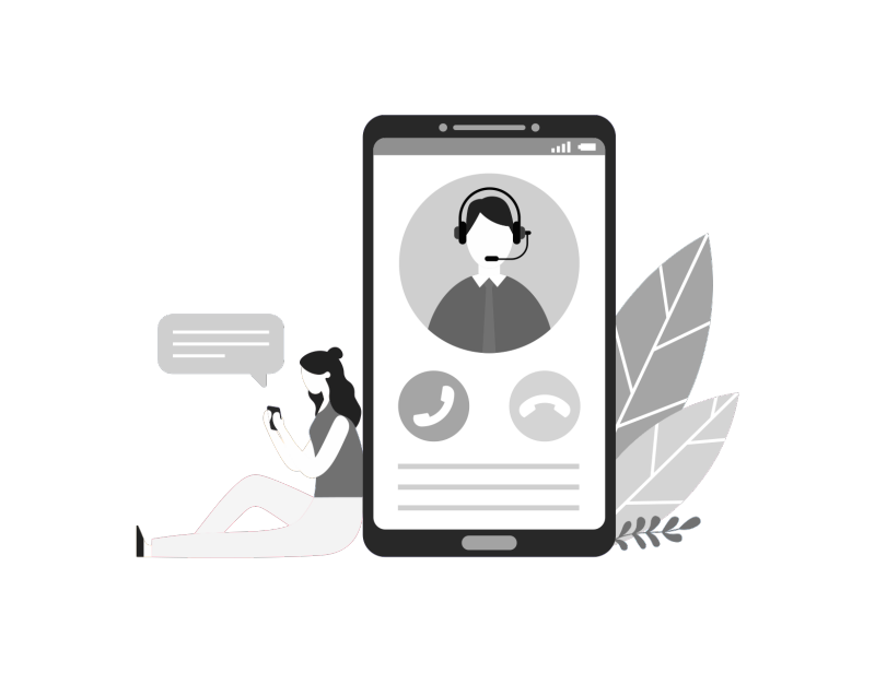 conceptual illustration of a person leaning against a big phone, implying digital connection